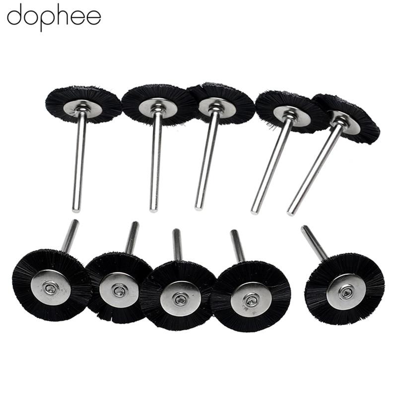 Dophee Dremel Accessories 3MM Shank Flat Nylon Bristle Wheels Brush Buffing Polishing Brush Wheel For Dremel Rotary Tools 10PCS