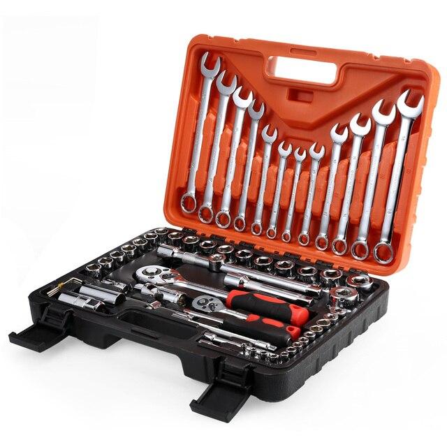 61pcs Socket Ratchet Wrench Automobile Professional Repair Tools Kit Torque Wrench Combination Bit a set of keys Chrome Vanadium