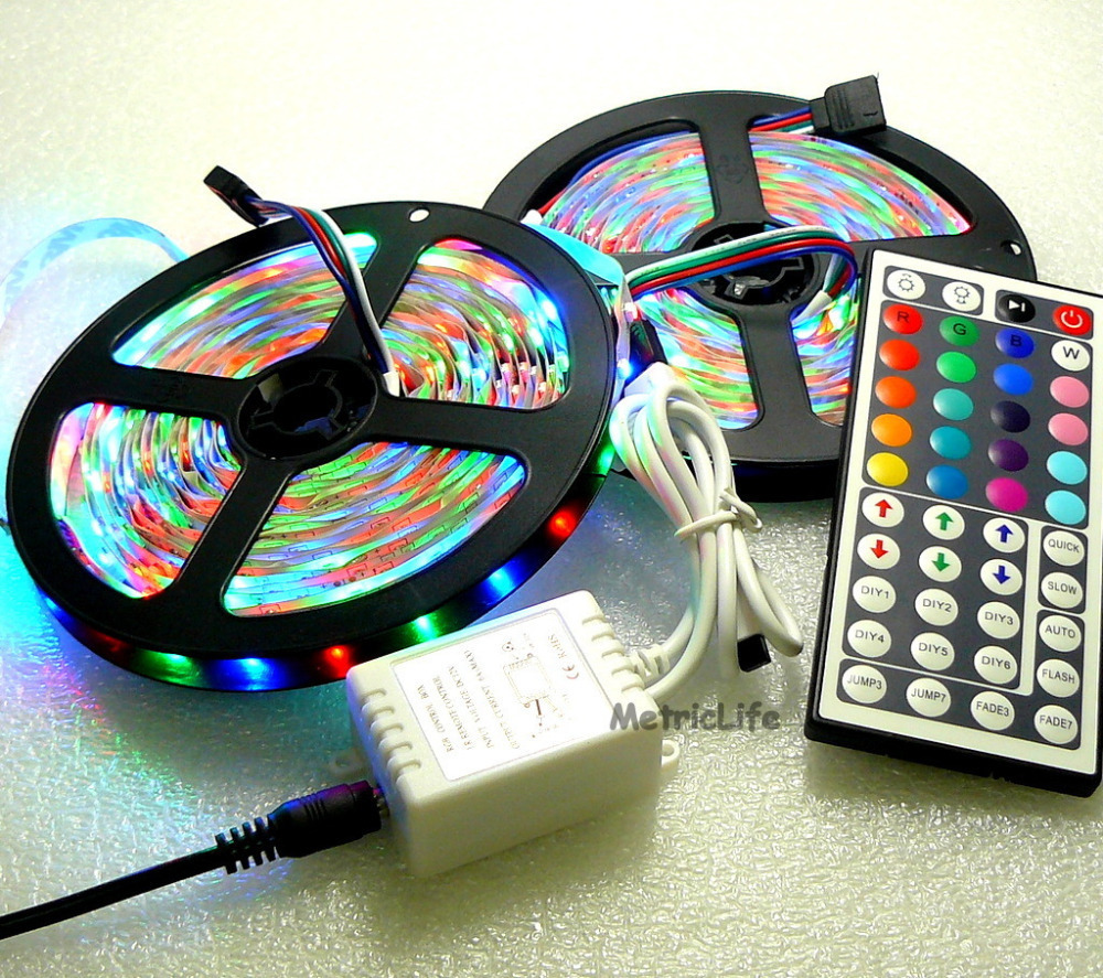 10M 3528 SMD RGB 600LEDs 2x 5M LED Light Strip Lamp 44 Key IR Remote System