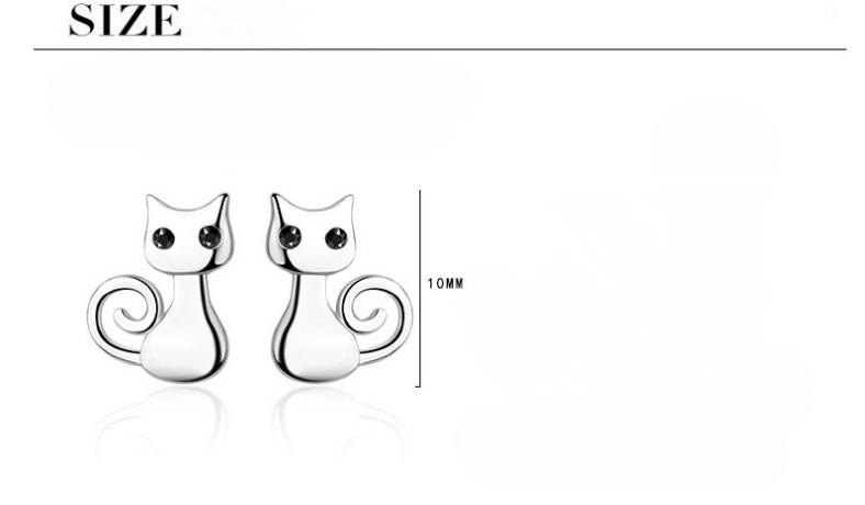 Fashion Elegant Cute Cat Animal 925 Sterling Silver Ladies Stud Earrings Original Jewelry For Women Anti Allergy Gift in Stud Earrings from Jewelry Accessories