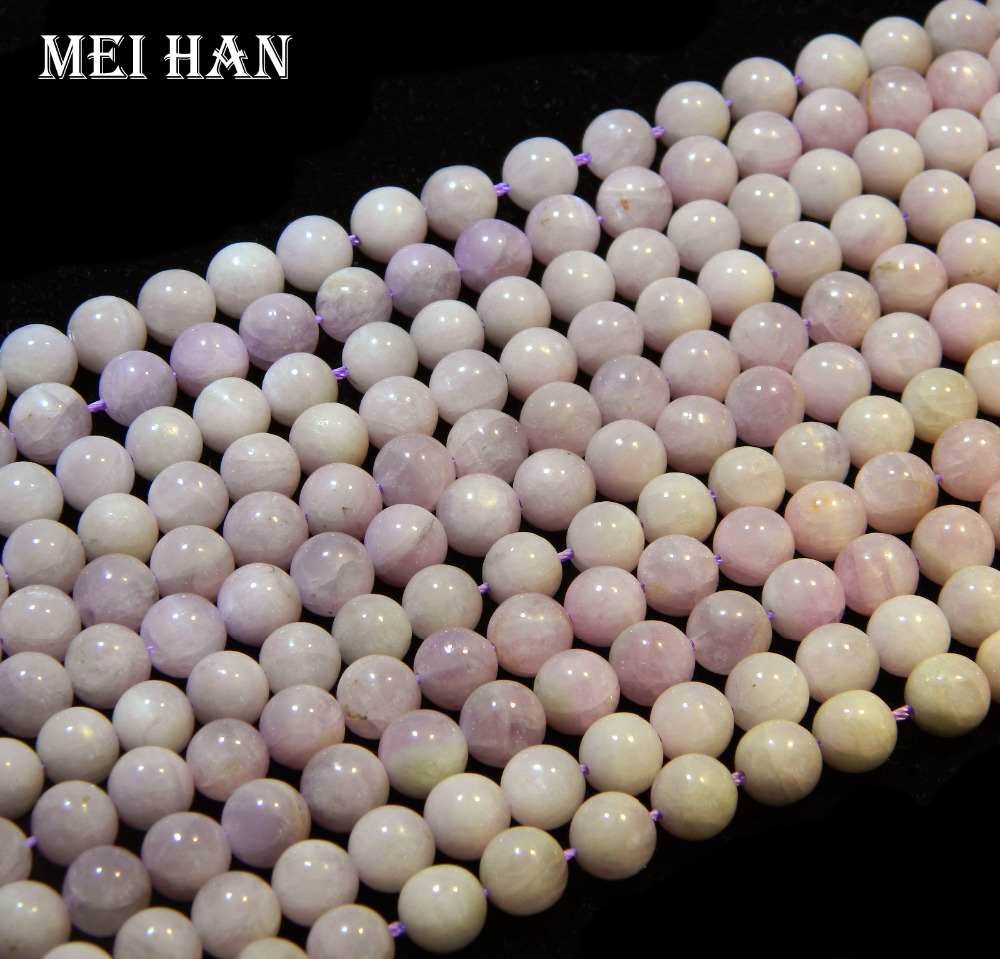 Free Shipping Natural Strand Madagascar Kunzite 8mm Smooth Round Charm Gem Stone For Jewelry Making