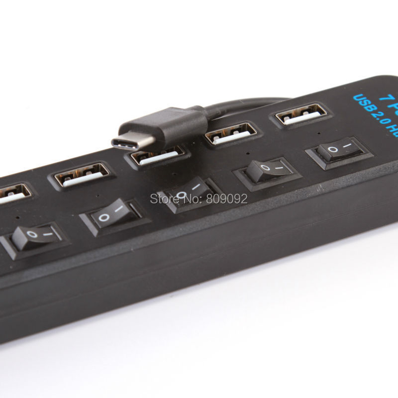 USB 3.1 Type C to Multiple 7 Port usb 2.0 ON/OFF Switch Hub Adapter For PC Laptop Tablet Macbook