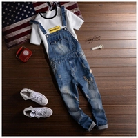 2019 Spring Summer Fashion Brand Male Ripped denim jumpsuit Mens slim hole jean overalls Casual bib jeans for men A42704