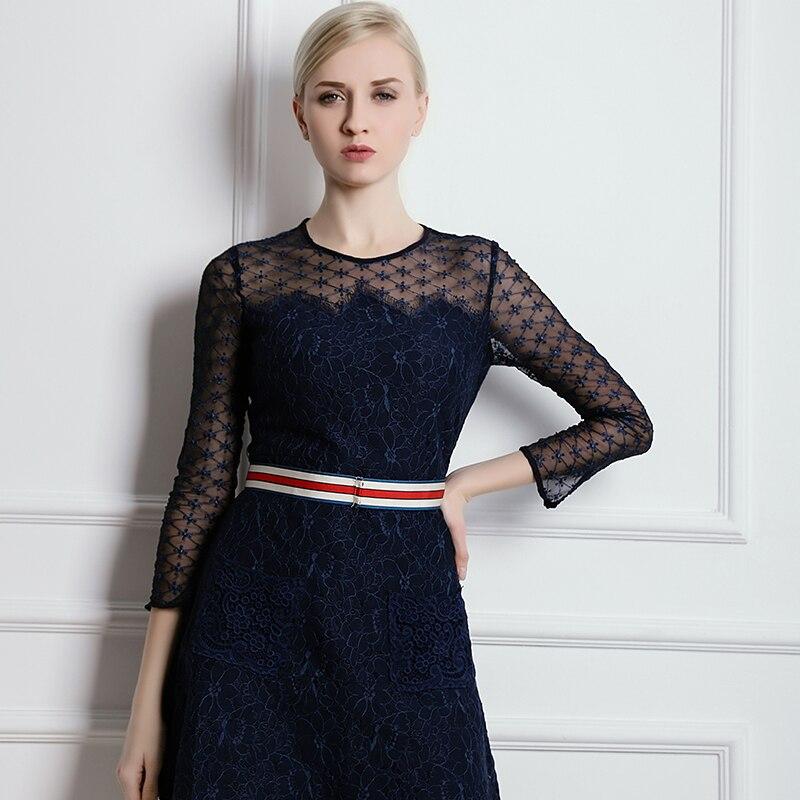 Perspective Couleur Cou Marque De Luxe Robe En Gamme O Élégant Mince Kenvy Mode Dentelle Femmes Printemps Haut Contraste OdAPwqw6x