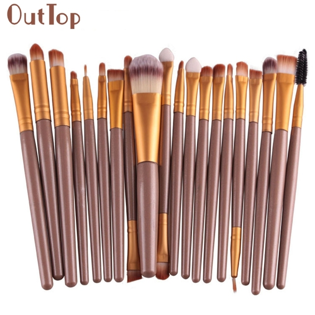 OutTop Best Deal New Good Quality 20 pcs set Women Makeup Brush Set tools  Make-up Toiletry Kit Wool Make Up Brush Set Tools 443a244c5