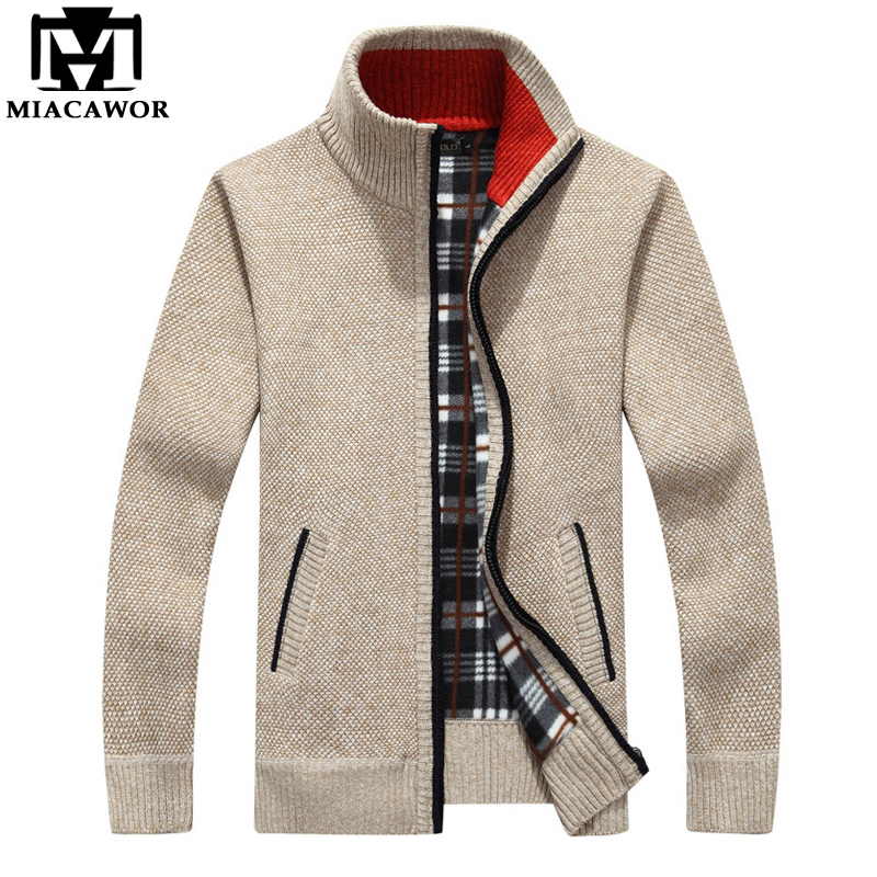MIACAWOR New Cashmere Sweaters Men Autumn Winter Fleece Warm Sweatercoat Casual Men Cardigan Zipper Sweater Y096
