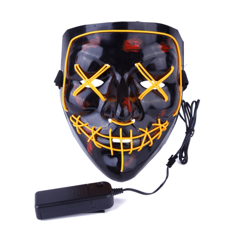 For Halloween Led Luminous Mask Horror Grimace Bloody EL wire Halloween Carnaval Party Club Bar DJ Glowing Full Face Masks 2018