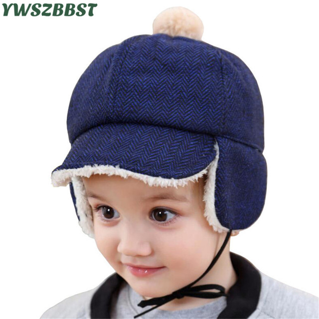 797718fc51e Baby Winter Hats for Boys Thicken Plush Baby Cap with Earmuffs Beanies Baby  Warm Hat 1