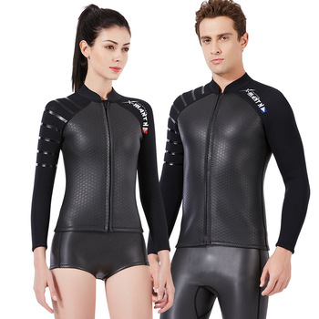 3MM Scuba Diving Suit High Elasticity Swimsuit Wet Diving Jacket for Men Women Thicken Warm Surfing Jellyfish Wetsuit Only Tops