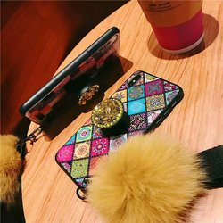 Air Bag Bracket Holder Phone Case For iPhone 8 7 6 6s Plus Case iPhone X XS Max XR Fashion DIY Back Cover With Fur Ball Lanyard 6