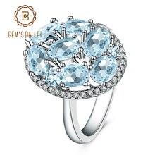 פנינה של בלט טבעי שמיים כחול טופז טבעות אמיתי 100% 925 סטרלינג כסף בציר תכשיטים עבור נשים חתונת אירוסין