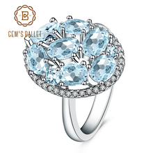 Gems Ballet Natural Sky Blue Topaz Rings Genuine 100% 925 Sterling Silver Vintage Fashion Jewelry For Women Wedding Engagement