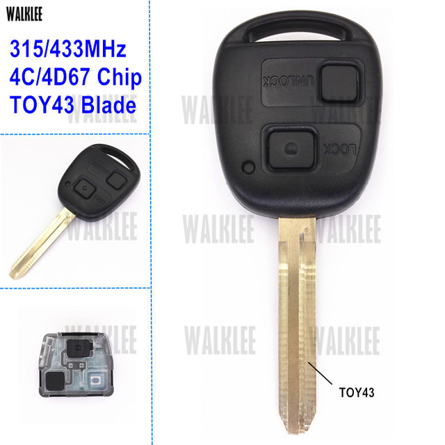 WALKLEE Remote Key fit for Toyota Camry Prado Corolla 315MHz or 433MHz