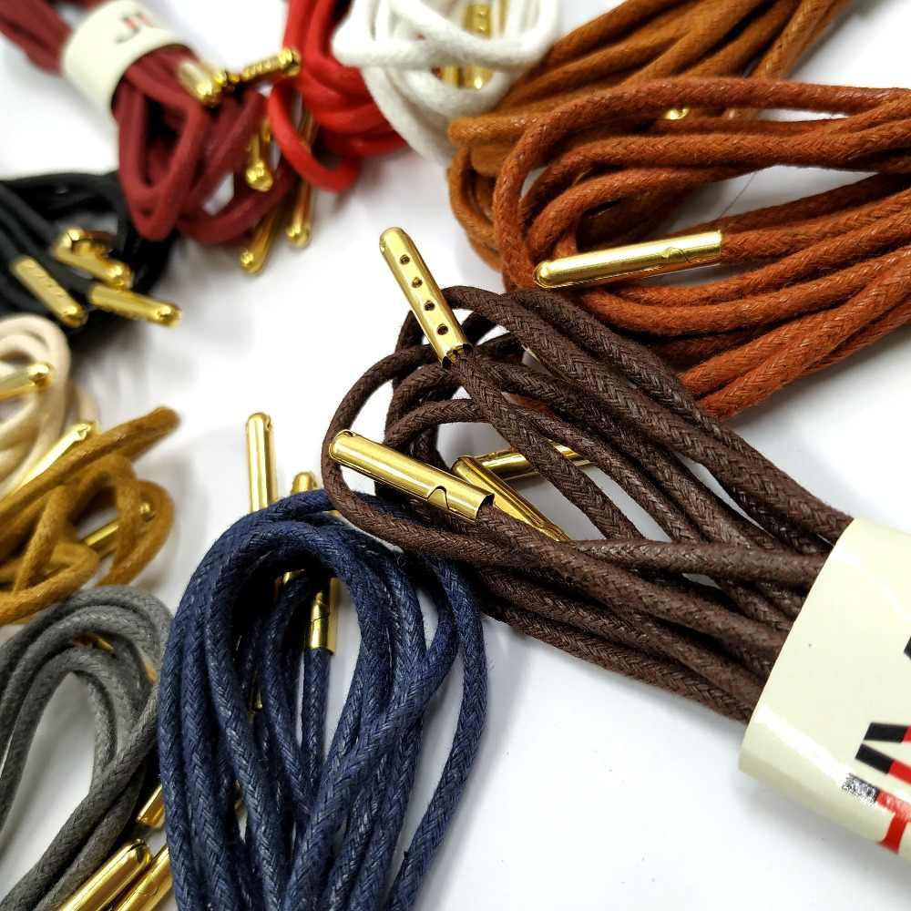 Juphair тонкие Вощеные хлопковые шнурки круглые золотые металлические головы восковая шнурка платье кожаные шнурки для обуви шнурки для спортивной обуви
