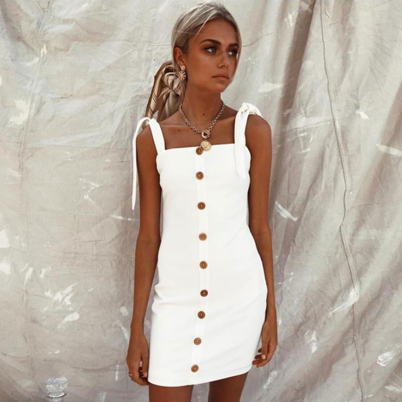 JSMY 2019 New Summer Fashion Women Solid Color Single Row Button Sling Seeveless Hip Dress in Dresses from Women 39 s Clothing