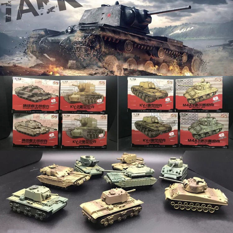 1:72 Assembly Tank Model Sherman Challenger DIY Puzzle Plastic Free Assemble Military