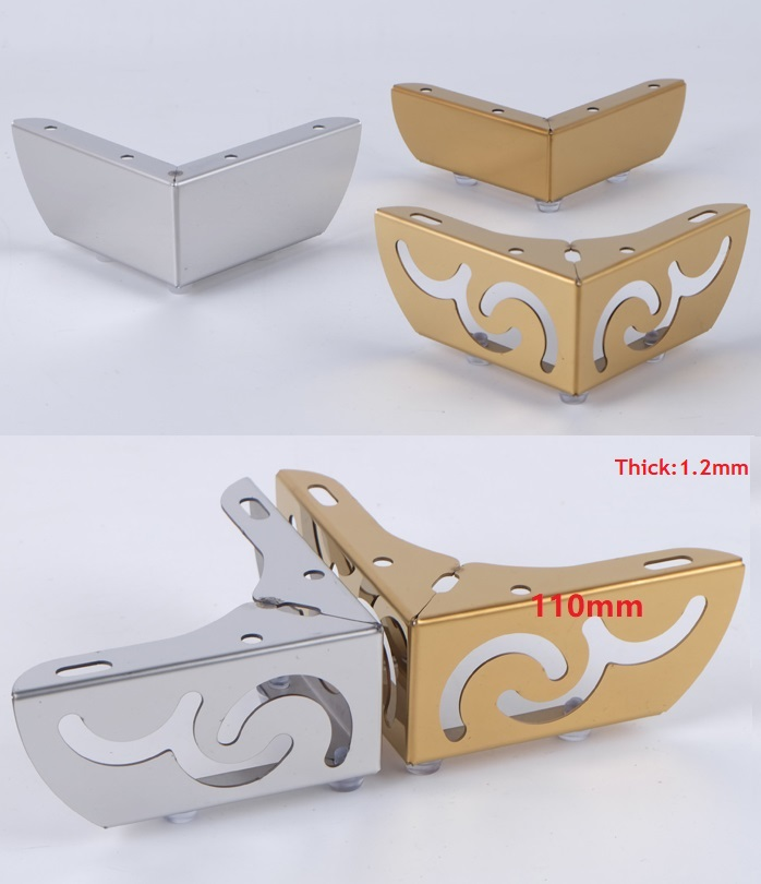 4Pcs/Lot Premintehdw  Furniture Bath Coffee Bar Sofa Chair Leg Feet With Screws Flower Pattern Chrome Gold Stainless Steel