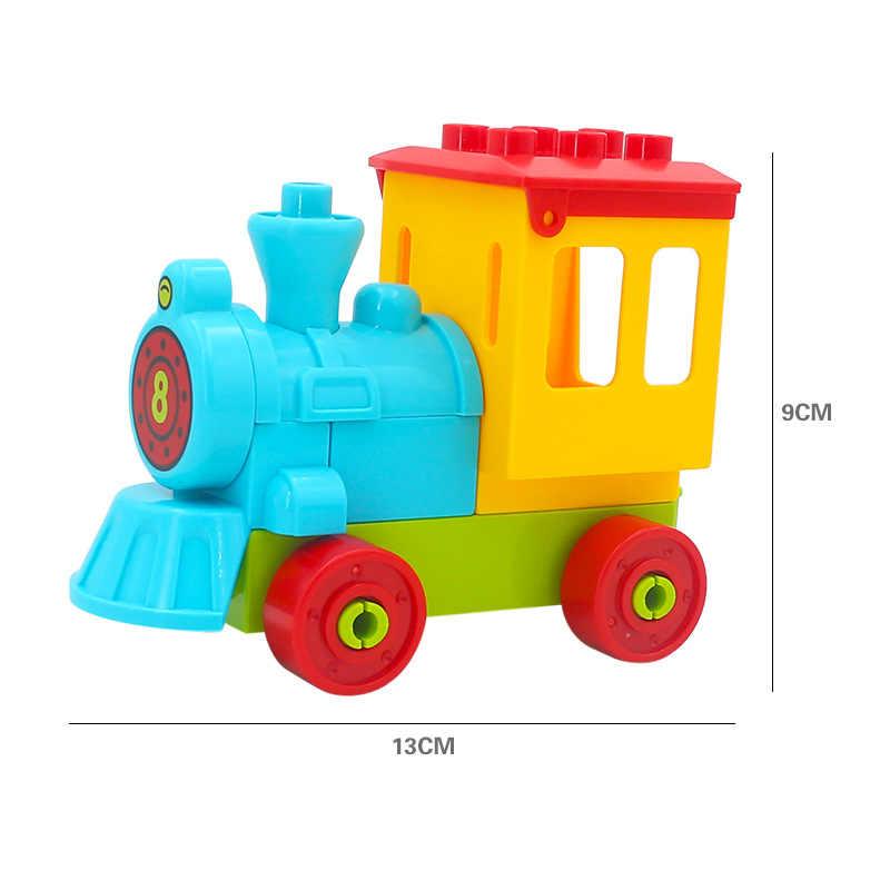 Ukuran Besar Aksesori Bus Kota Truk Pesawat Transportasi Truk Pemadam Kebakaran Blok Bangunan Bata Model Kompatibel Duploingl Mainan untuk Anak