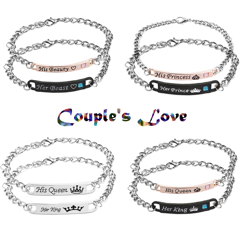 2018 Letter king and queen Jewelry His Queen Her King His Beauty Her Beast Her Prince His Princess Crown Couple bracelets Gifts