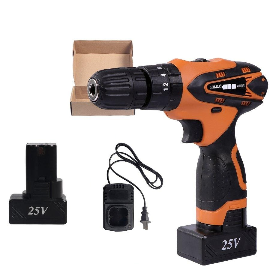 DC 25V Cordless Electric Impact Drill with Impact Lithium Battery Electric Drill Power Drills