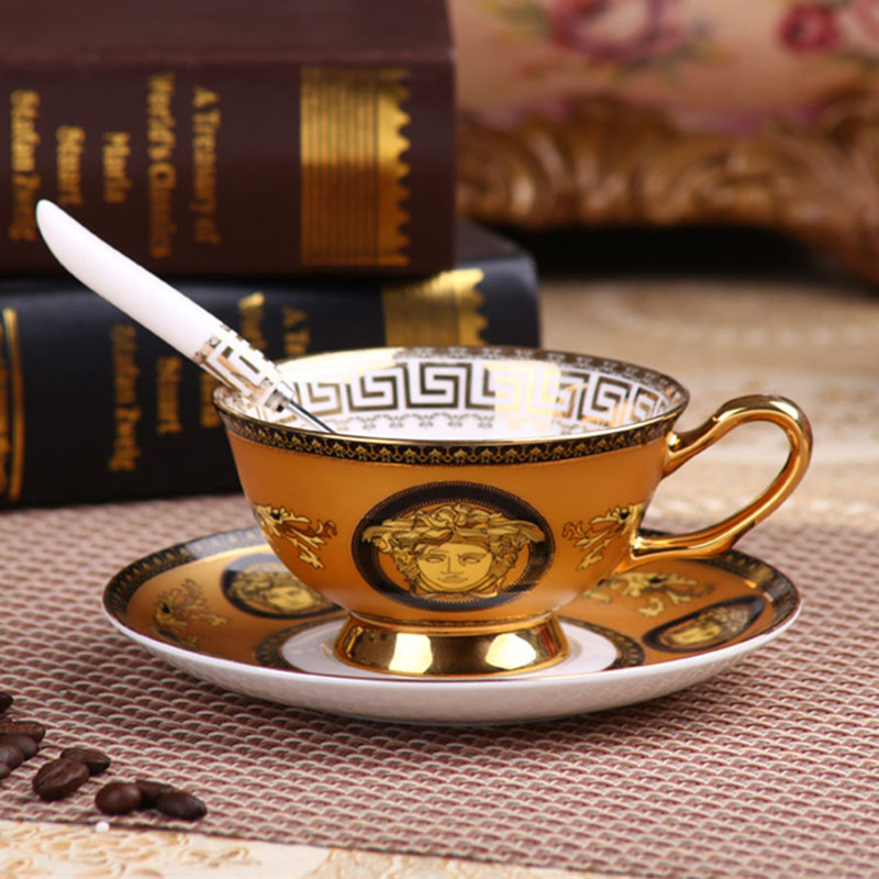 European Style Bone China Coffee Cups Set Famous Brands Luxury English Afternoon Black Tea Cups And