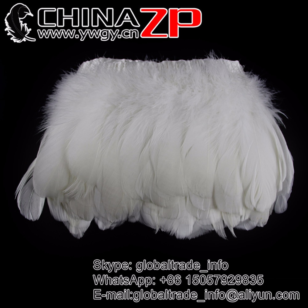 Gold Supplier CHINAZP Factory Selected Prime Quality Colored Goose Nagoire Satinettes Feather Trim Fringe