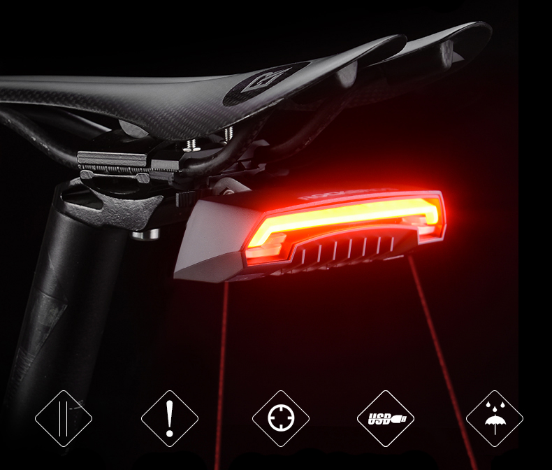 LED Seatpost, Tail Light Wireless  Safety Warning, Bike Waterproof Intelligent, Remote Control Rear, Lamp 13