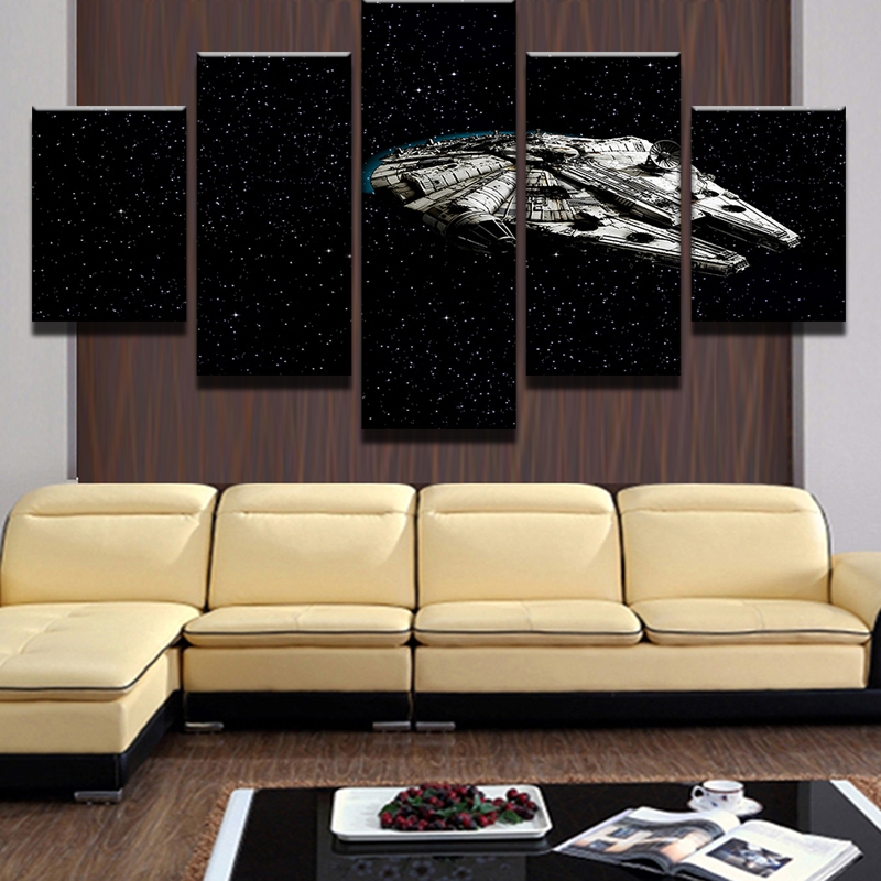 5 Pieces Star Wars Millennium Falcon Painting Canvas Wall Art ...