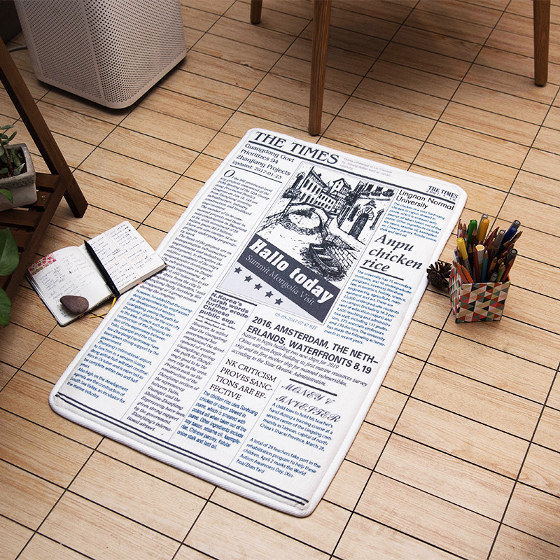 Letter Simulation English newspaper Thickening mat Bedroom living room Bay window carpet Home floor mat non-slip HD printed rug