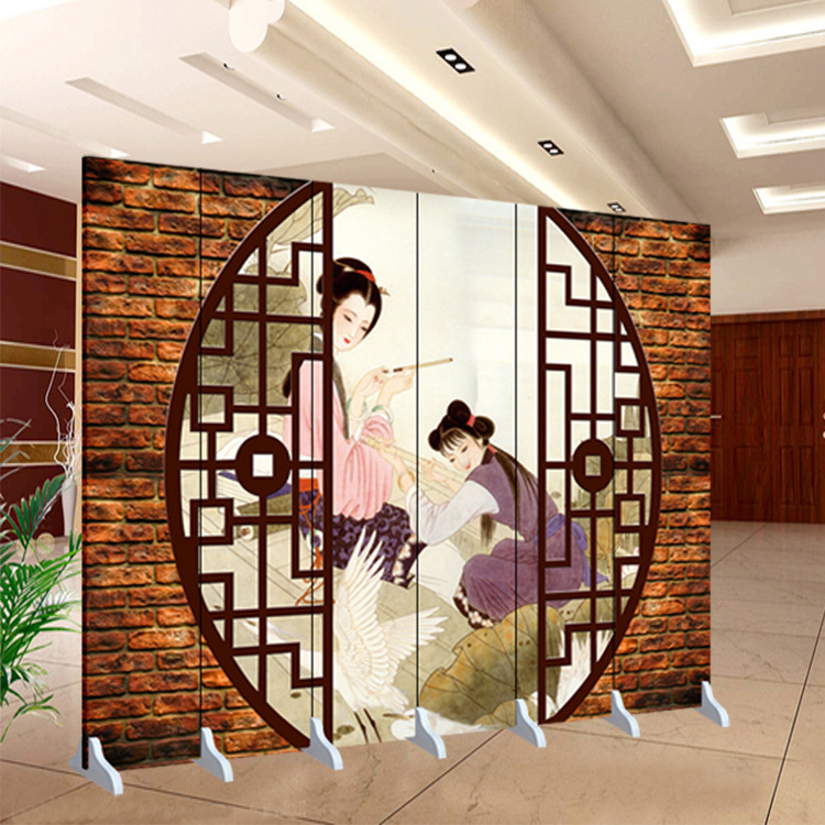 Order 8 Pieces Chinese Folding Screens Living Room Partition Double Sided Printing Canvas Paintings Study Beauty Screen Paravent