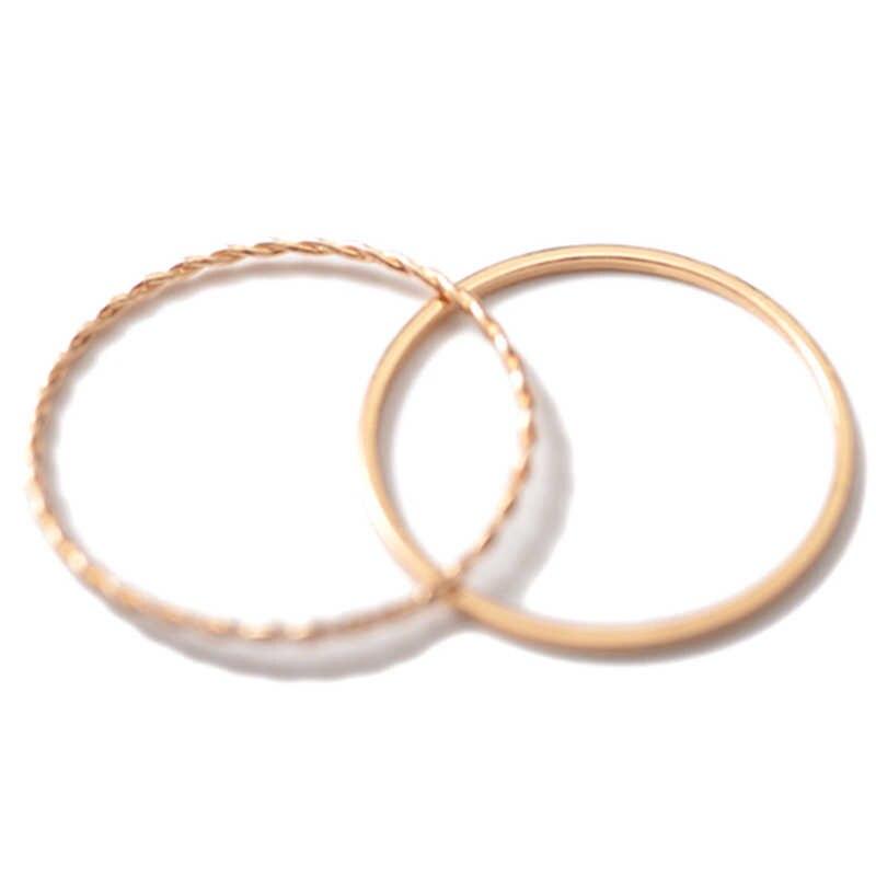 ใหม่หมั้น Rose Gold แหวนผู้หญิงชุดสำหรับนิ้วมือแหวนสุภาพสตรี Knuckle แหวนชุดสำหรับหญิงวันเกิดของขวัญเครื่องประดับ