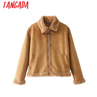 Tangada Fashion Sweet Winter Brown Warm With Fur Jackets Coat Women Bow Pocket Zipper Ladies Suede Leather Jackets Thick Coats