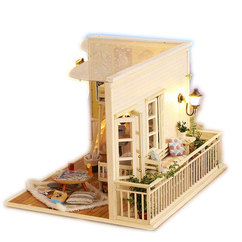 Me and My Little Buddy Doll House Miniature DIY Dollhouse Furniture Wooden House Stars Sky Toys For Children Birthday Gift CF01 just me and my dad little critter