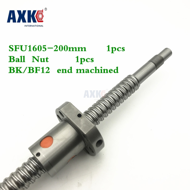 Axk Free Shipping 16mm 1605 Ball Screw Rolled Ballscrew 1pc Sfu1605 200mm With 1pc 1605 Flange Single Ballnut For Cnc Parts 1pc sfu3205 1000mm rm3205 rolled ball screw 1pcs ballnut