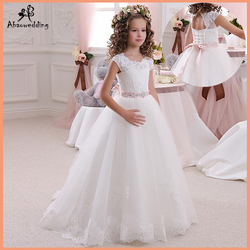 Real Image Ivory White Lace Flower Girls Dresses Ball Gown Floor Length Girls First Communion Dress Princess Dress 2-14 Old 2017