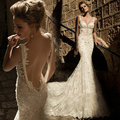 Fashion 2017 Vintage Lace Fish Tail Bride Wedding Dress Slim Low Back Sexy Pearls Spaghetti Straps New Bridal Gowns