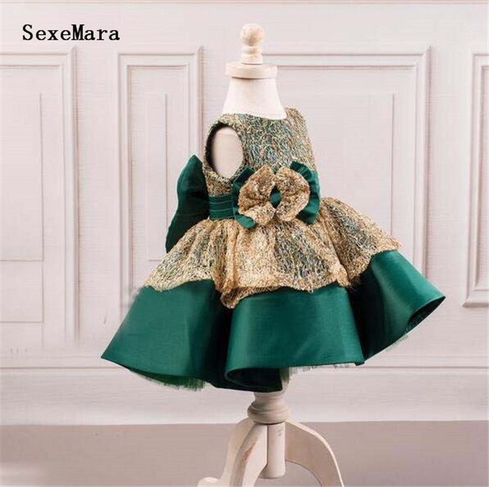 Eemerald green with gold lace ball gown toddler celebration pageant flower girl dress with bow baby girls birthday party gownEemerald green with gold lace ball gown toddler celebration pageant flower girl dress with bow baby girls birthday party gown