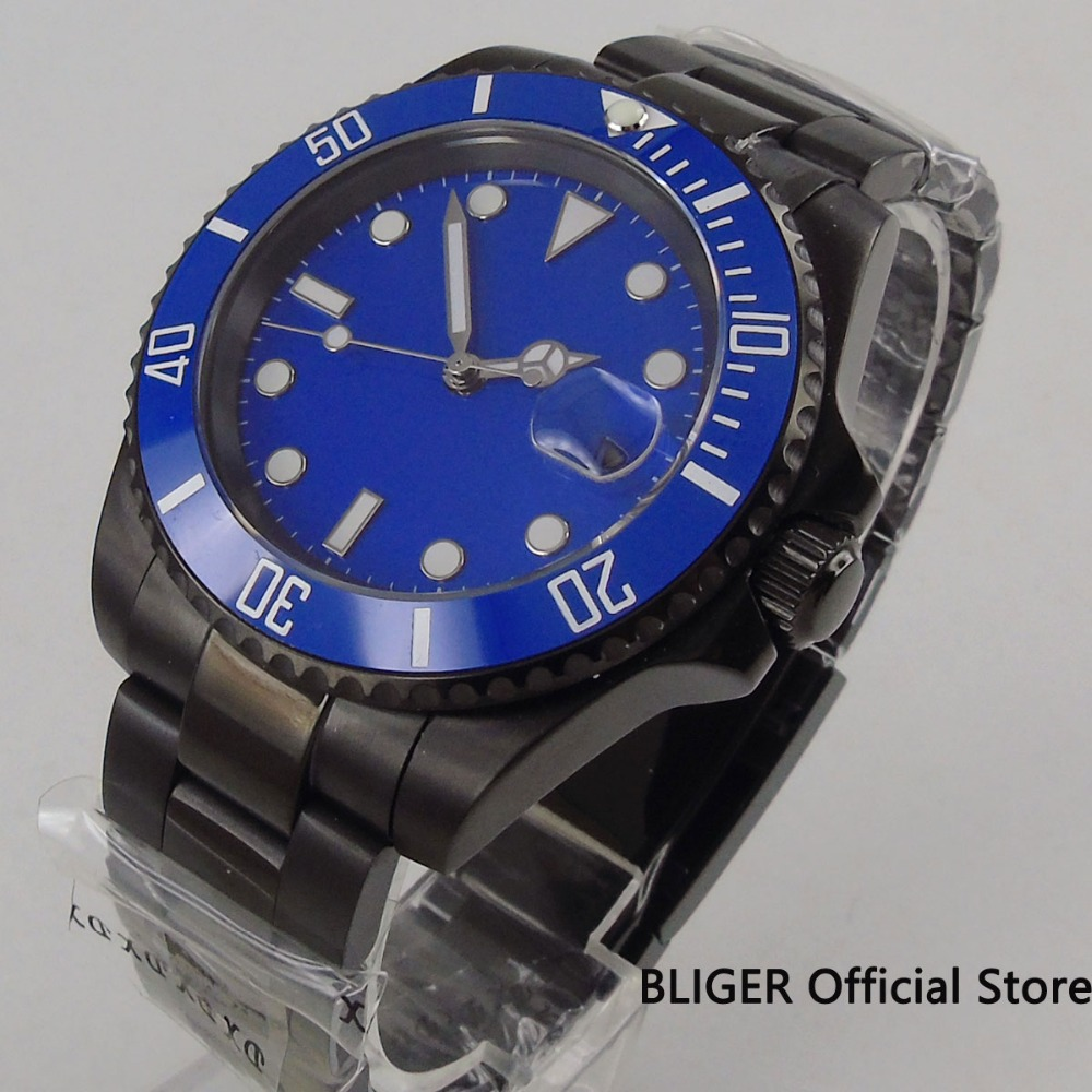 Fashion 40mm Blue Sterile Dial Ceramic Rotating Bezel Luminous Marks Sapphire Crystal Steel Case Automatic Movement Mens WatchFashion 40mm Blue Sterile Dial Ceramic Rotating Bezel Luminous Marks Sapphire Crystal Steel Case Automatic Movement Mens Watch