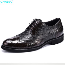 Mens Business Shoes Luxury Dress Shoes Genuine Leather High Quality Cow Leather Black Brown Crocodile Pattern Shoes