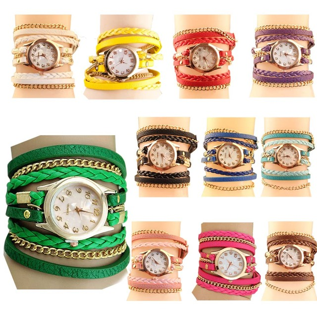 2017 Hot Sell Korean Style Retro Bracelet Watches Woman Casual Knit Long Leather