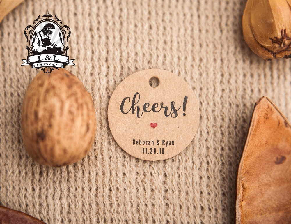 Us 9 25 200 Pcs 3 5cm Round Kraft White Paper Label Cheers Tag Wine Tag Rehearsal Dinner Bachelorette Party Favors Tags Hen Weekend Tag In Garment