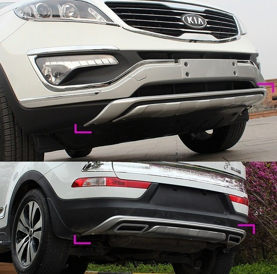 Set of 2 front & rear bumper protector cover guard plastic skid plate for Kia Sportage run 2010 2011 2012 2013 2014 car parts bumper protector guard skid plate for toyota prado fj150 2010 2011 2012 2013