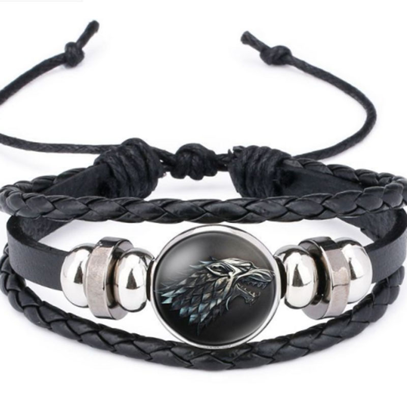 Power Game Ice and Fire Song Ice Plain Wolf's Head Time Cowskin Bracelet for Friend Best Present image