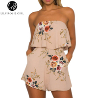 Lily Rosie Girl Women 2017 Khaki Sexy Off Shoulder Floral Ruffles Summer Romper Hollow Out Casual