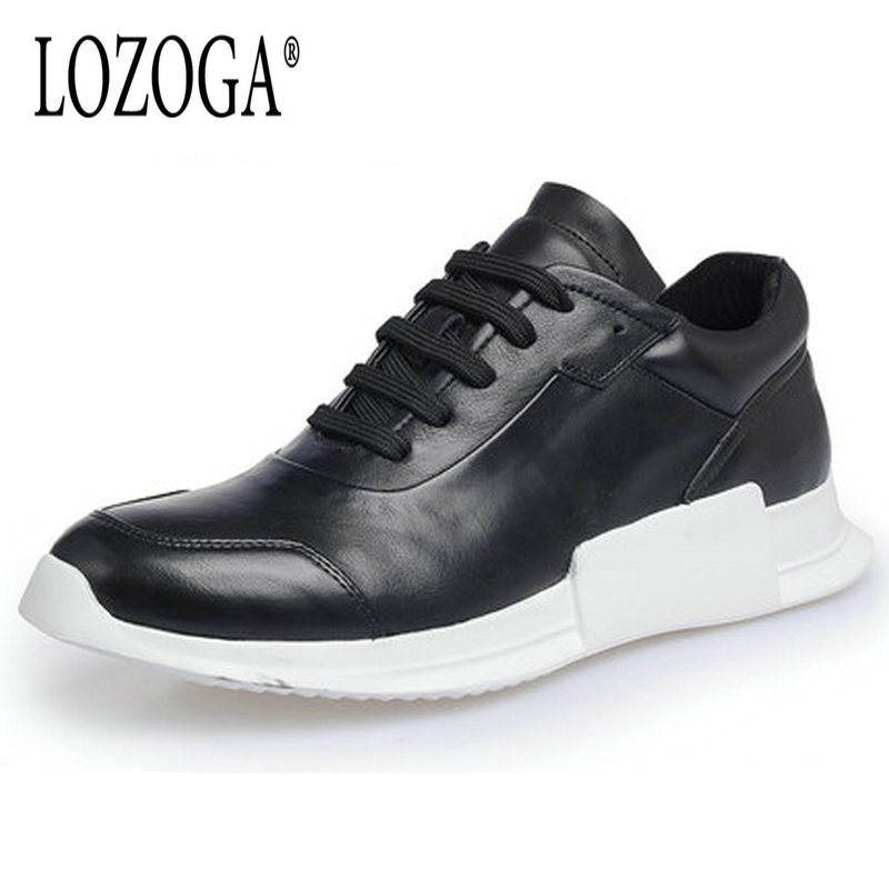 LOZOGA Luxury Brand Men's Shoes Genuine Leather Men Casual Shoes Comfortable Lace Up Breathable Fashion Sneakers Flat Shoes 2017 fashion red black white men new fashion casual flat sneaker shoes leather breathable men lightweight comfortable ee 20