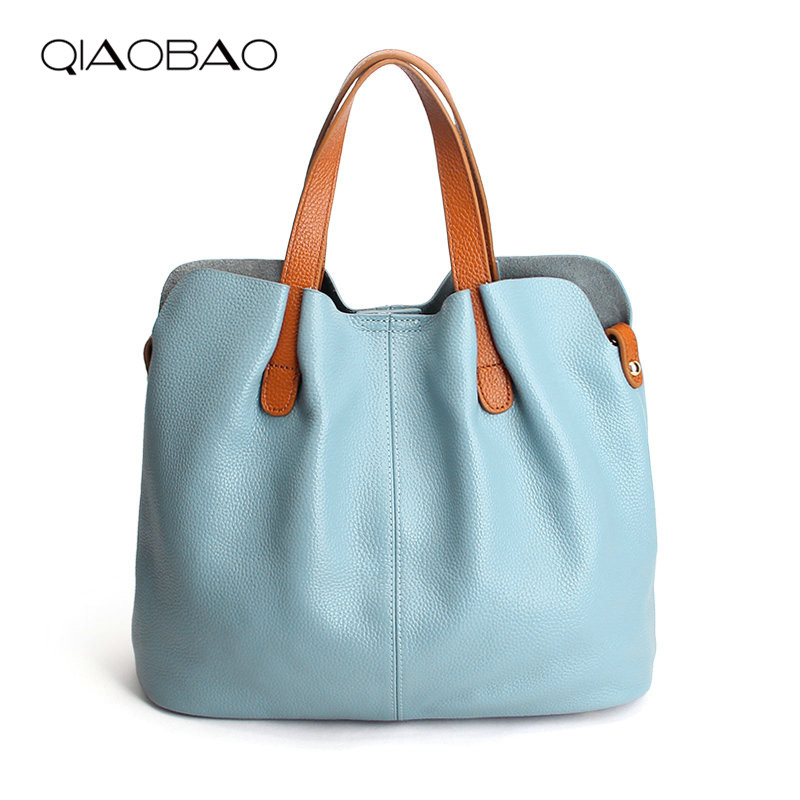 QIAOBAO Women Handbag 100% Genuine Leather Tote Shoulder Bag Bucket Ladies Purse Casual Shopping Bag Satchel Capacity Totes