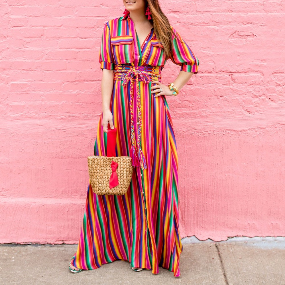 ae5777080 Dropshipping 2018 Summer New Arrival Button Down Collar Stripes Roll Up  Sleeve Half Sleeve Maxi Dresses Women Long Dress-in Dresses from Women's  Clothing on ...