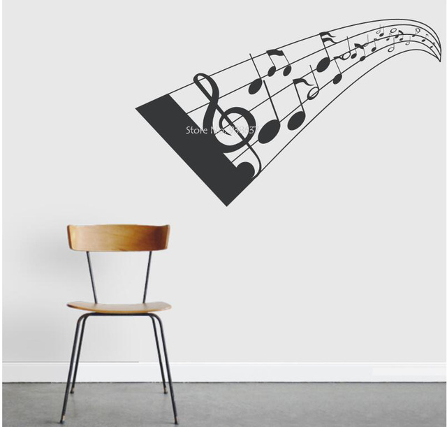 D Music Notes Wall Decal Creative House Decor Self Adhesive Vinyl - Vinyl wall decal adhesive