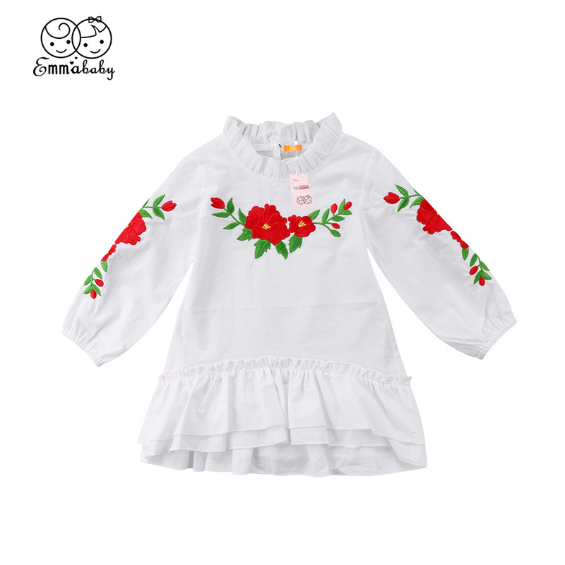 Floral Skirt Set Outfits Party USPS Pretty Girls Dress Long Sleeve T-shirt