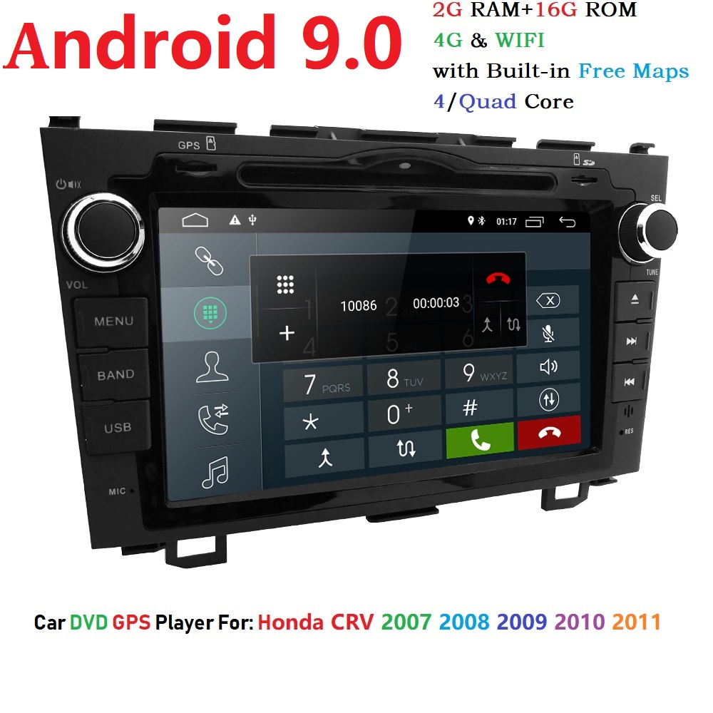 Android 9.0 Car GPS DVD Player for Honda CRV Auto Radio Navigation HD Touchscreen 2GB RAM Wifi 4G Bluetooth TPMS DAB+ OBD2 DTV